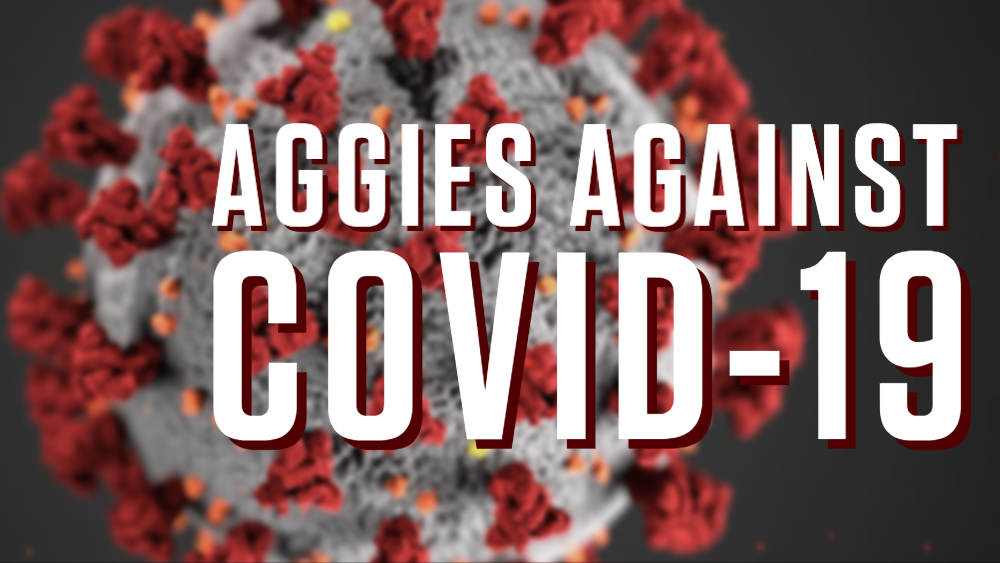 COVID-19 microscopic zoom graphic with text, Aggies Against COVID-19