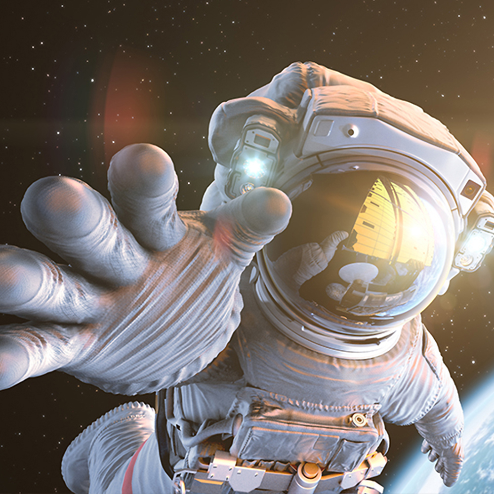 Astronaut in space with outstretched hand in front and moon in background
