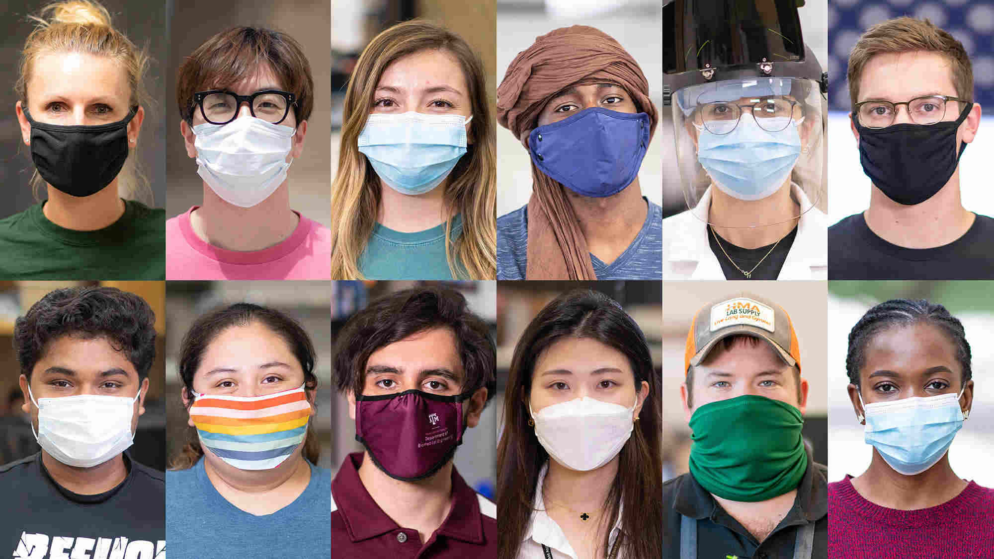 Series of portrait of students wearing face masks.