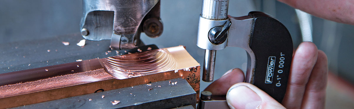 Close-up shot of copper being machined