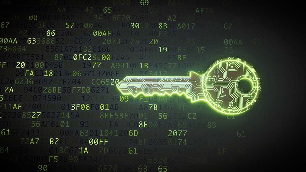 green glowing key lined with circuit wired, surrounded by hex values