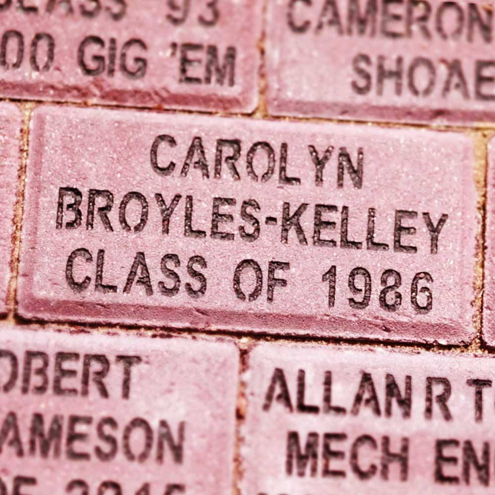 engraved bricks with name and class year.