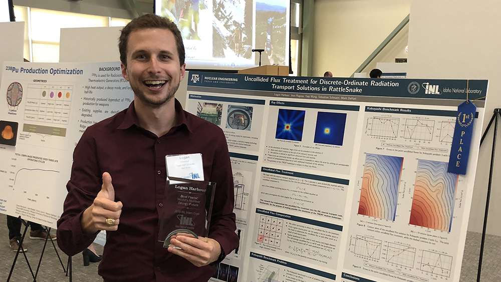 Logan Harbour wins best poster award at Idaho National Laboratory.