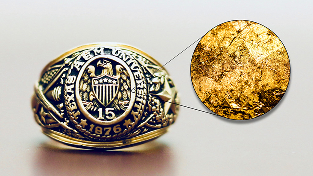 Aggie Ring under microscope