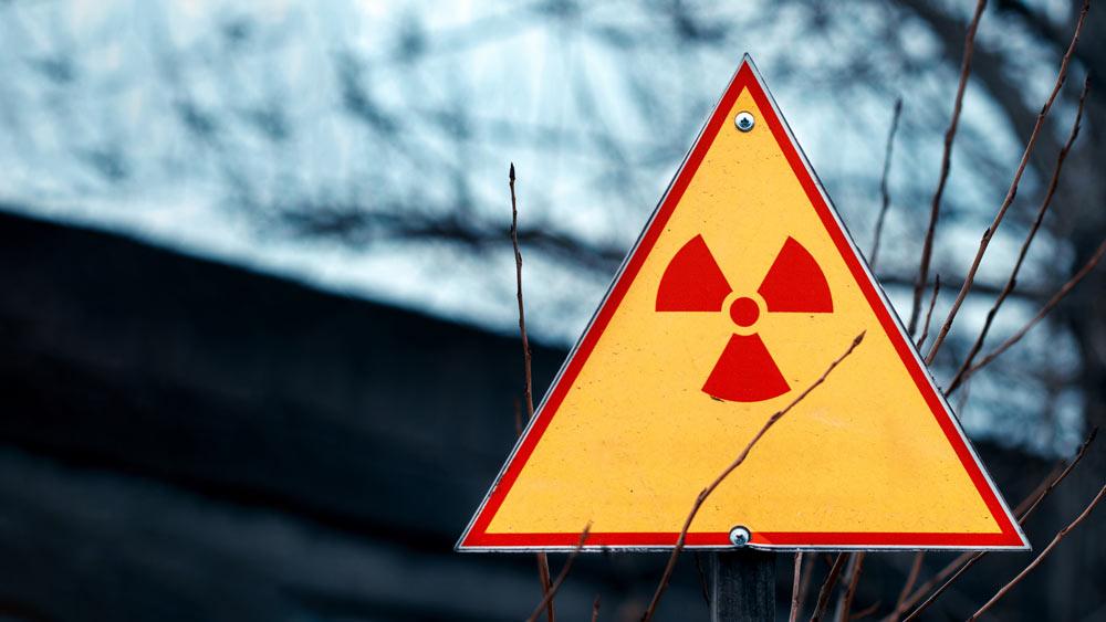 A radiation warning sign