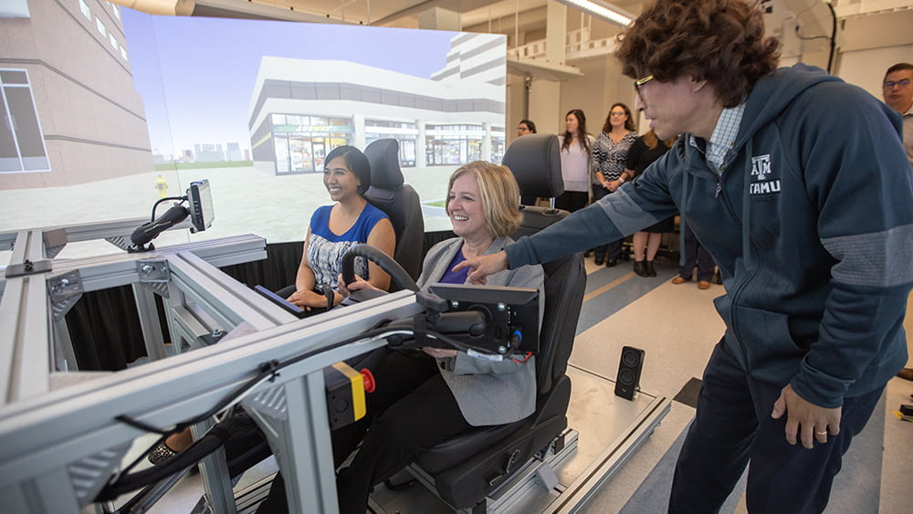 Dr. Banks drives in a driving simulator.