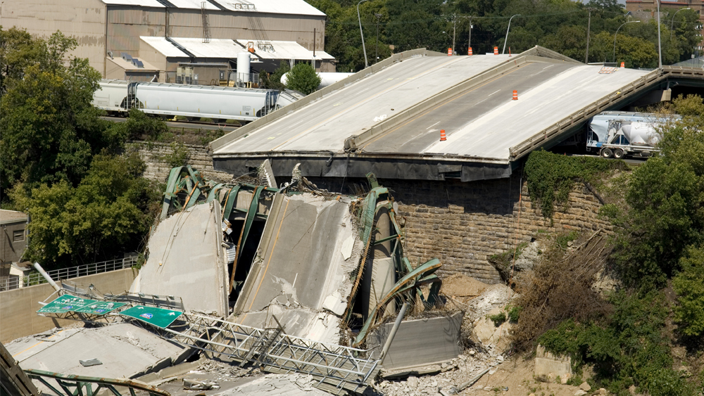 A concrete bridge collapse after a natural disaster.