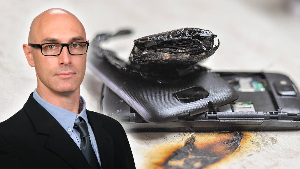 Dr. Olivier Mathieu and a graphic representation of a cellphone with a burned battery.