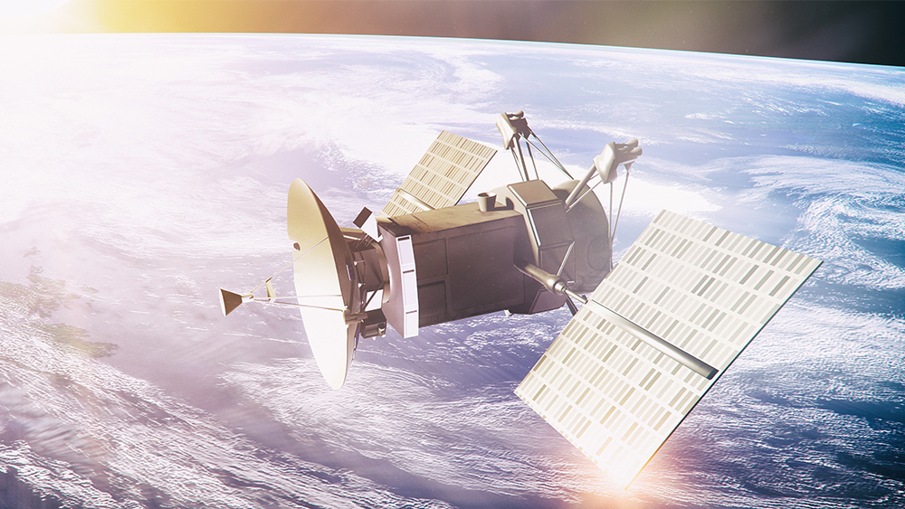 Satellite with an dish antenna in orbit around the earth.