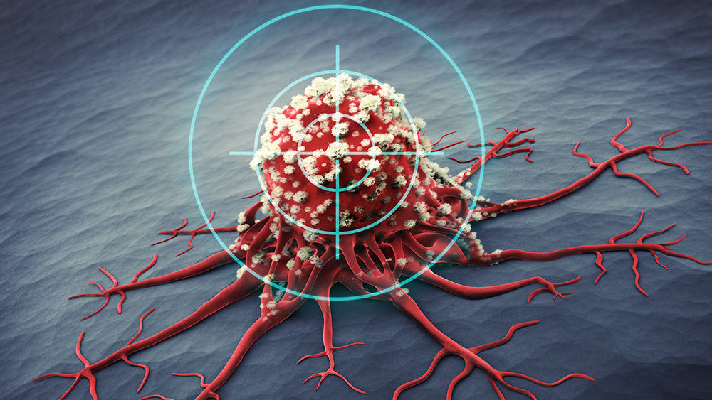 A cancer cell with a symbol of the target shown on it.